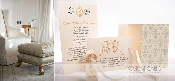 Invitatie de nunta L'Amour d'Amelie - Mint & Gold