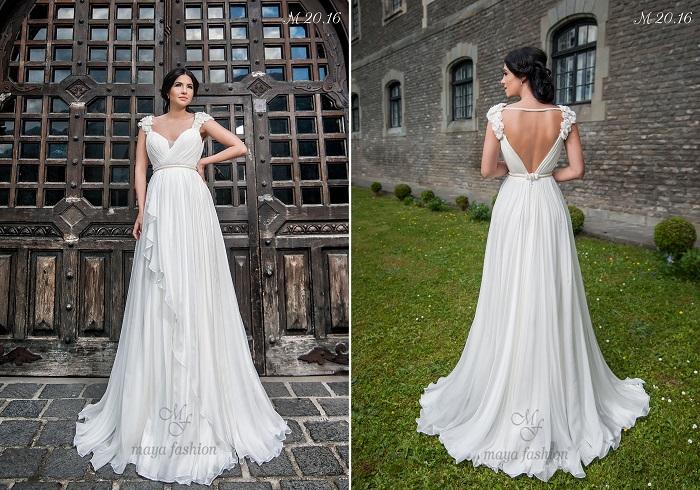 Modelul M20.16 este o rochie de inspiratie greceasca ce te duce cu gandul la zeitele antice.