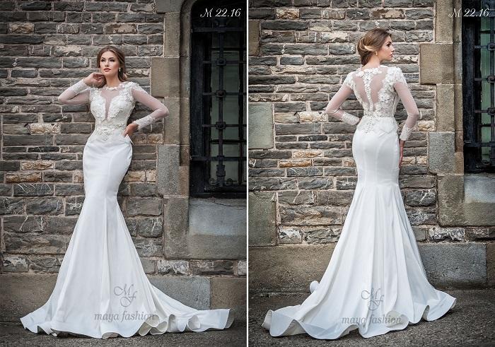 Un model de rochie de mireasa stil sirena care iese din tiparul clasic si te propulseaza in centrul atentiei este rochia M22.16.