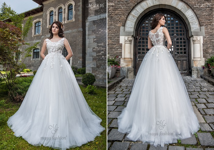 Modelul M23.16 este o rochie cu detalii florale ce imbraca bustul si iti confera un look romantic si gingas.