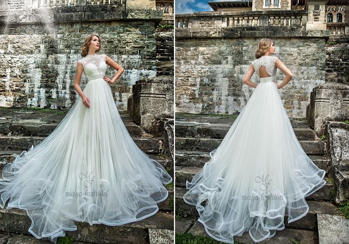 Modelele geometrice din dantela de pe bustul rochiei M03.16 confera un aer regal fericitei purtatoare.