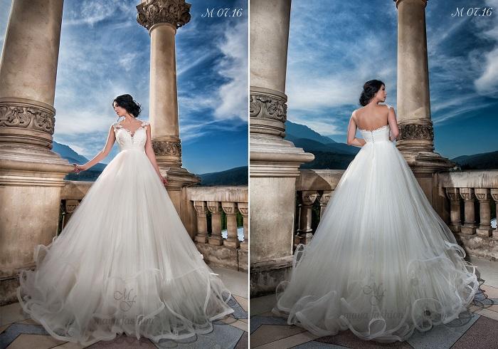 Rafinamentul si senzualitatea iti vor fi puse in valoare de modelul M07.16 de rochie de mireasa stil printesa cu bust din dantela.