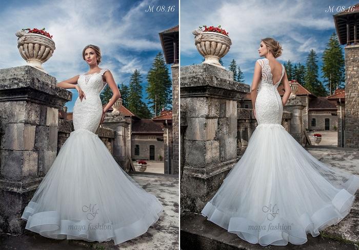 Pentru un look irezistibil, alege rochia de mireasa M08.16, in stil sirena, cu spate in V.
