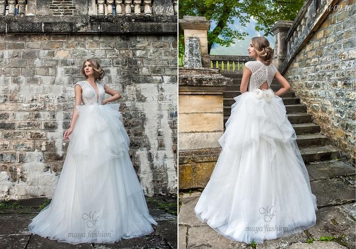 Daca iti place sa fii in centrul atentiei si toate privirile sa fie atintite asupra ta, acest modelul rochiei de mireasa M09.16 este potrivit pentru tine.