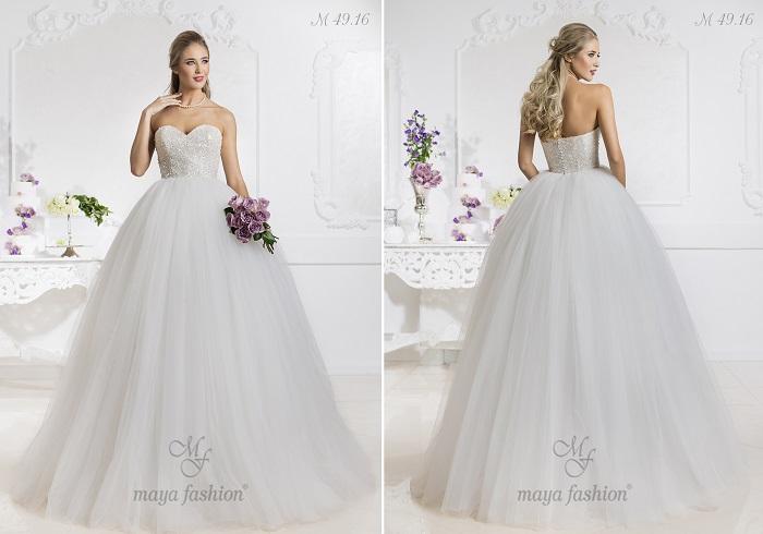 M49.16 - O rochie de mireasa de bal, fara bretele, potrivita pentru o nunta de poveste.