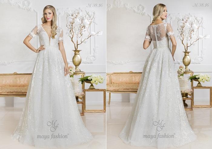 M38.16 - Modelul acesta de rochie de mireasa iese in evidenta prin detaliile delicate din dantela.