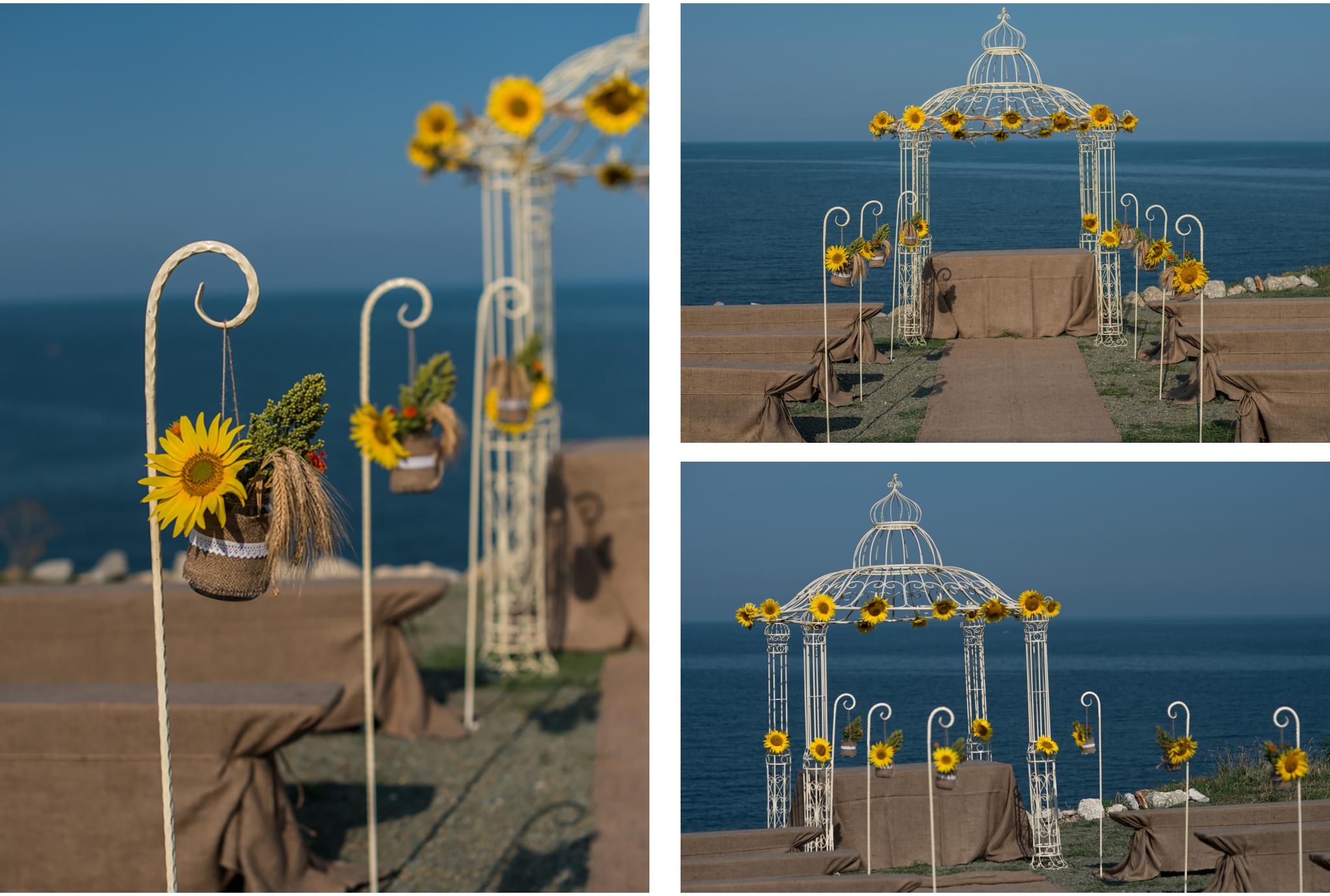 arcada floarea soarelui nunta la mare